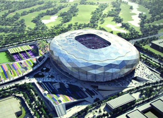 An aerial view of QF Stadium - architect's impression