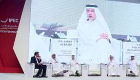 Akbar al-Baker at a panel session during the IPEC on Monday. The other panelists are QTA acting chai