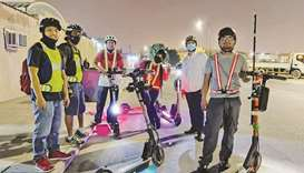 Members of the 'Electric Scooter Qatar' at a recent meet up. The group aims to raise public awarenes
