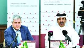 "Al-Kuwari and Ozdogan during a meeting in Doha. ""Qatar enjoys a huge potential, and it is a leading"