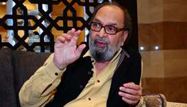 Renowned Indian journalist and author Saeeq Naqvi makes a point during his interview with Gulf Times
