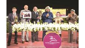 QREC CEO Nasser Sherida al-Kaabi (third from right) with the winners of Al Rayyan Stakes after Holli