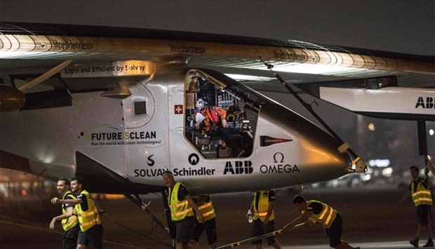 The Solar-powered Solar Impulse 2 aircraft prepares to take off from the Cairo International Airport