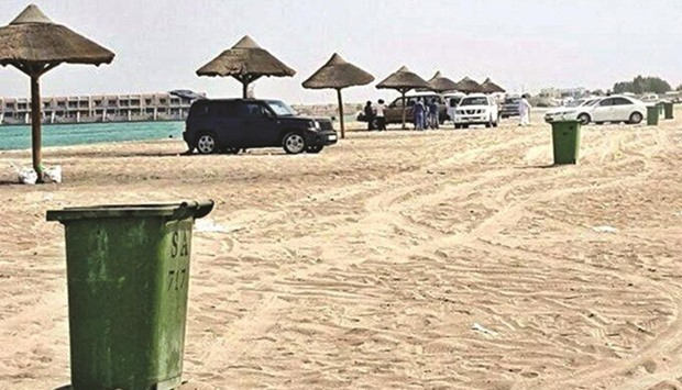litter bins distributed across beaches