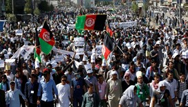 Demonstrators from Afghanistan's Hazara minority attend a protest in Kabul, Afghanistan