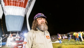 Fedor Konyukhov is seen in front of his balloon near Perth, Australia