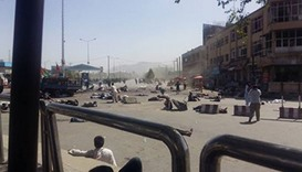 A picture purported to be of the aftermath of the Kabul explosion