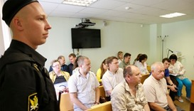 Suspects attend a hearing on the accident, which resulted in the death of Christophe de Margerie, th