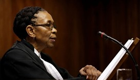 Judge Thokozile Masipa reads her verdict during an appeal hearing brought by prosecutors against the