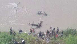 Search and rescue operation for the passengers of the bus that plunged into Trishuli River