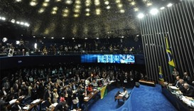Senate's plenary session taken during the impeachment vote against suspendend President Dilma Rousse