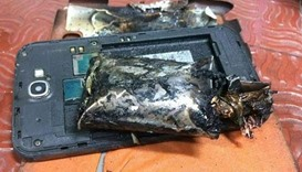Samsung Note 7 phone with the battery burned aboard the Indigo flight