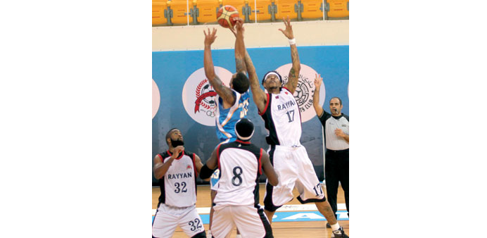 Action from the Heir Apparent Cup basketball match between Al Rayyan and Al Gharafa yesterday. PICT