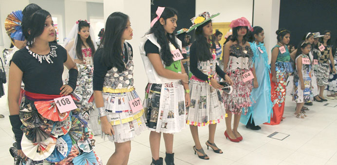 Some of the contestants at the fashion design contest.