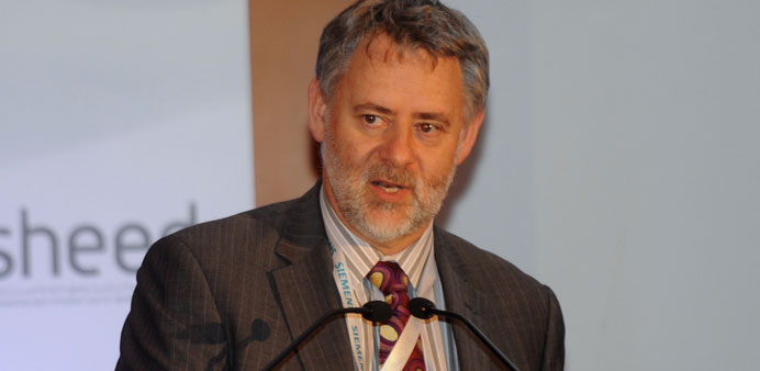 Robert Tromop speaking at the Qatar Energy & Water Efficiency conference yesterday. PICTURE: Shemeer
