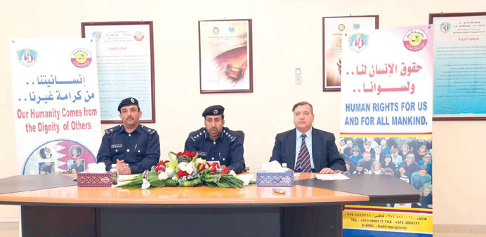Ministry of Interior officials at a press conference.