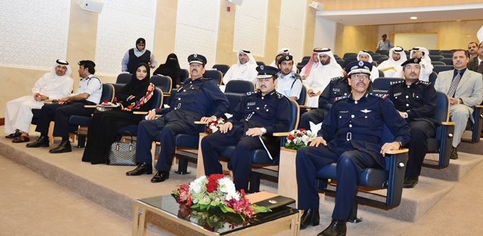 Staff Maj Gen Saad bin Jassim al-Khulaifi, first right, with other MoI officials at the seminar.