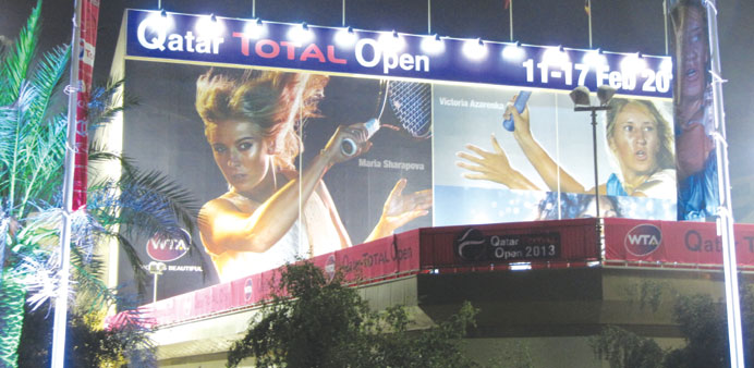 A poster inside the Khalifa International Tennis and Squash Complex.