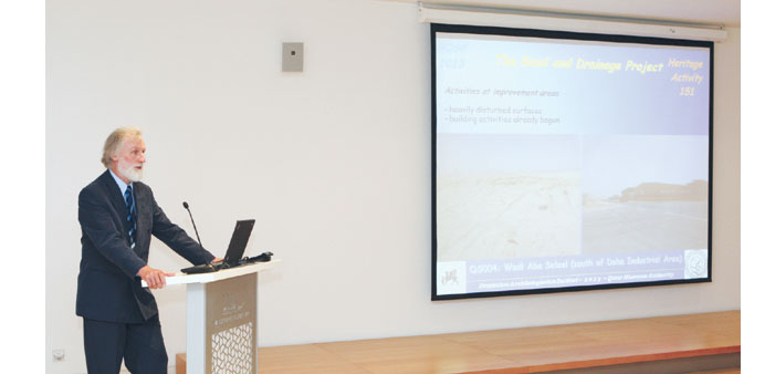 Dr Christoph Gerber, director of the team from the German Archaeological Institute, addressing the a