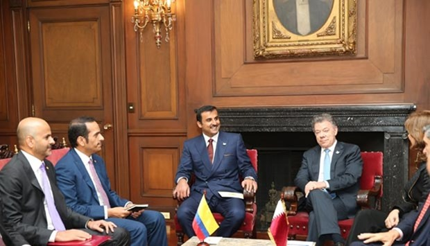 HH the Emir and the Colombian President holding official talks at the Presidential Palace in Bogota