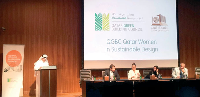 Vice-chair QGBC Engineer Rasha al-Sulaiti and QU professors Dr Yasser Maghoub, Dr Anna Grichting and