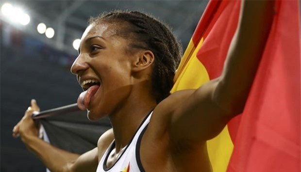 Nafissatou Thiam of Belgium reacts after winning the gold medal in the women's heptathlon 800m