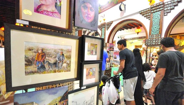 Families and tourists are popular visitors at the Souq Waqif Art Centre.