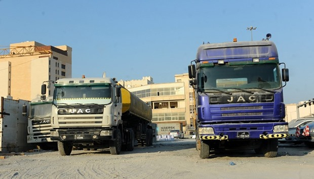 Illegally parked trucks in Doha