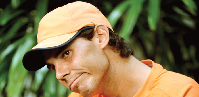 Rafael Nadal answers questions during a press conference for the BNP Paribas Open at the Indian Well