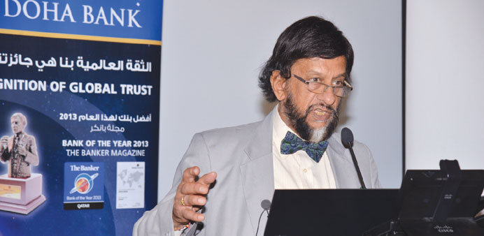 Dr R K Pachauri speaking on sustainable development at a session organised by Doha Bank yesterday.