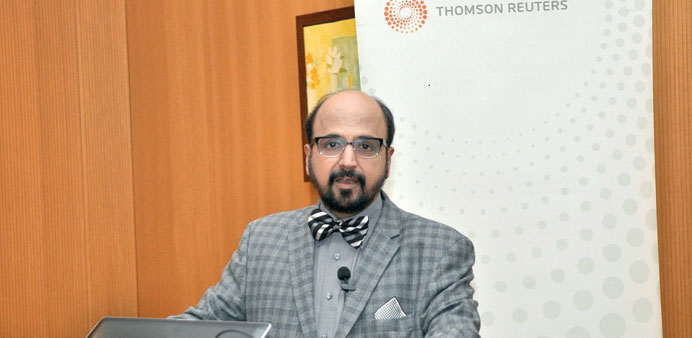 Seetharaman speaking at the Thomson Reuters conference in Doha yesterday.