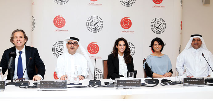 Al-Jaidah, al-Khalifa and other officials announcing the 'Fire Station: Artists in Residence' progra